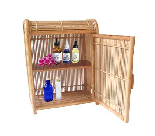 Rare Bent Bamboo Medicine Cabinet 2 Tier Closed Wall Shelf