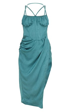 Emerald Green Satin Strappy Wrap Skirt Midi Dress | PrettyLittleThing USA