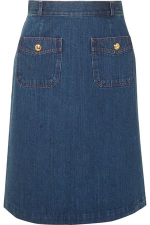 Gucci | Button-embellished denim skirt | NET-A-PORTER.COM