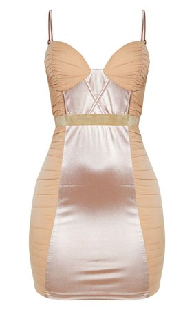Champagne Satin Mesh Ruched Bodycon Dress | PrettyLittleThing USA