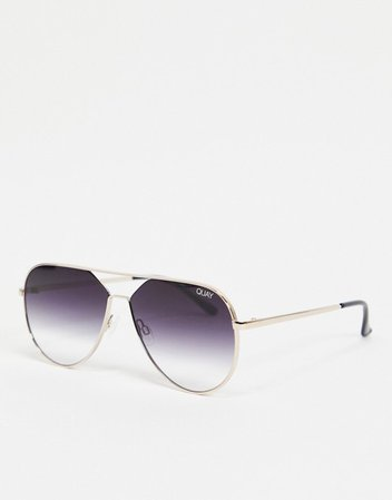 Quay Hold Please womens aviator sunglasses in gold | ASOS