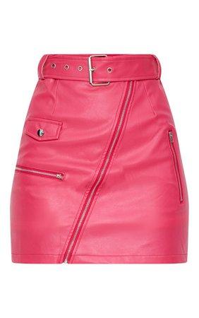 Fuchsia Biker Belted Mini Skirt | PrettyLittleThing USA