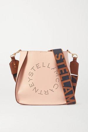 Neutral Logo-perforated vegetarian leather shoulder bag   Stella McCartney   NET-A-PORTER