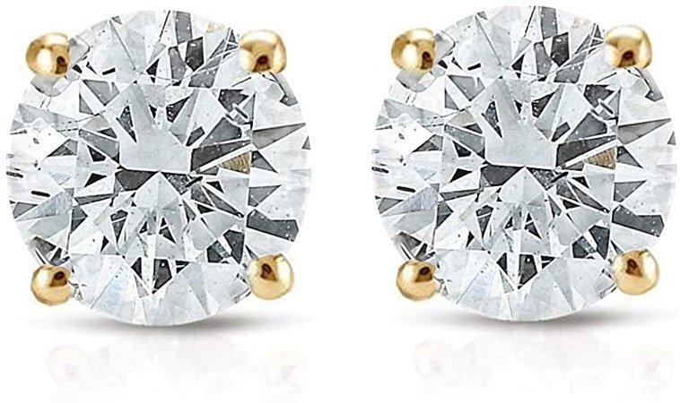 Amazon.com: 1/2ct Diamond Studs 14K Yellow Gold: Stud Earrings: Jewelry