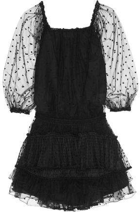 Pompom-embellished Swiss-dot Tulle Mini Dress