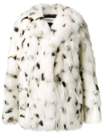 White and Black Speckled Faux Fur Coat