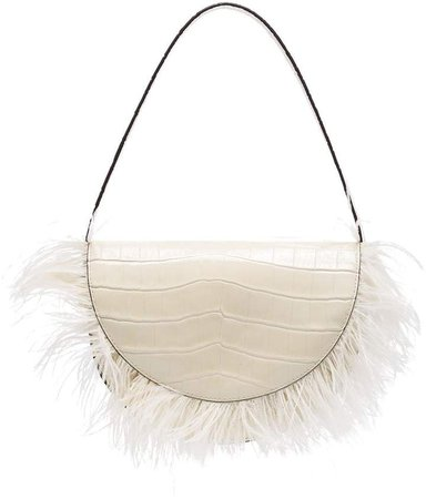 Amal feather-trimmed shoulder bag