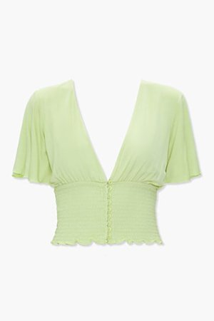 Smocked Button-Front Top | Forever 21