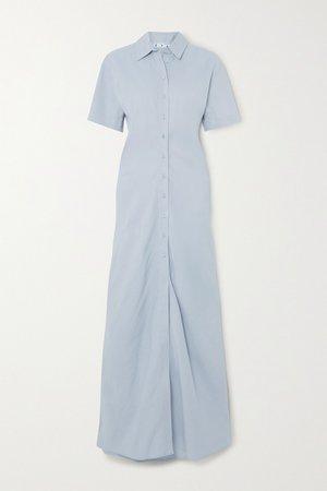 Light blue Ruched linen-blend maxi shirt dress | Off-White | NET-A-PORTER