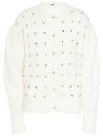 Shop white Miu Miu crystal-embellished round-neck cardigan with Express Delivery - Farfetch