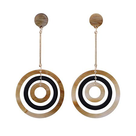 Long Drop Earrings, Triple Hoop Dangle Earrings for Women, Coffee and Black: Clothing