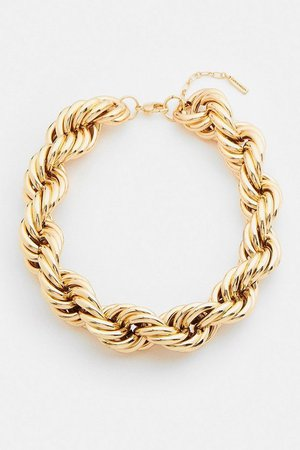 Gold Plated Chunky Twisted Necklace | Karen Millen