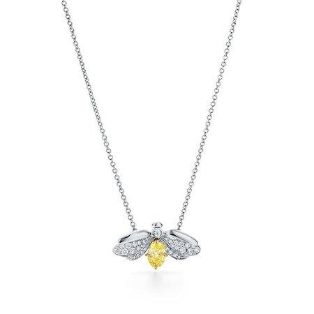 Tiffany Paper Flowers™ yellow diamond firefly pendant in platinum. | Tiffany & Co.