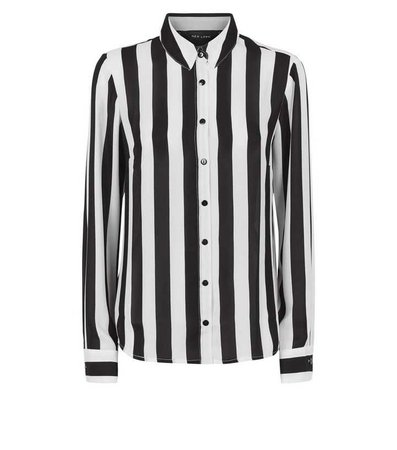 Black and White Stripe Long Sleeve Shirt   New Look