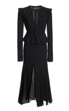 Tom Ford Peplum Waist Georgette Dress