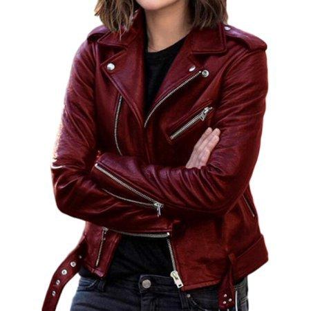 SySea - SySea Slim Fit Turn-Down Collar Women Long Sleeve Zipper Coat Rock Leather Jacket Outwear - Walmart.com - Walmart.com