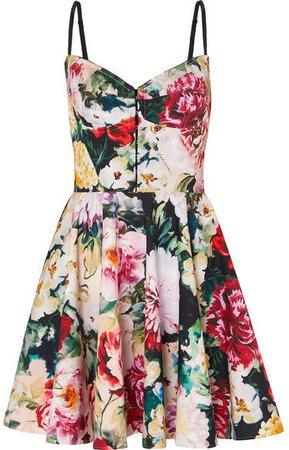 Pleated Floral-print Cotton-blend Mini Dress - Ivory