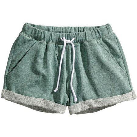 green pajama shorts