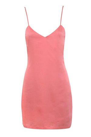 'Free Flow' Coral Silky Satin Slip Dress