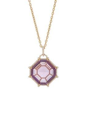 18k White Gold Amethyst, Diamond Necklace By Goshwara | Moda Operandi