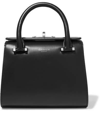 Serapian - Villa Mini Two-tone Woven Leather Tote - Black
