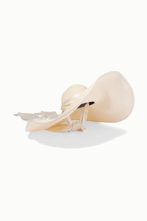 Ivory Veruschka satin-trimmed raffia hat | Eugenia Kim | NET-A-PORTER