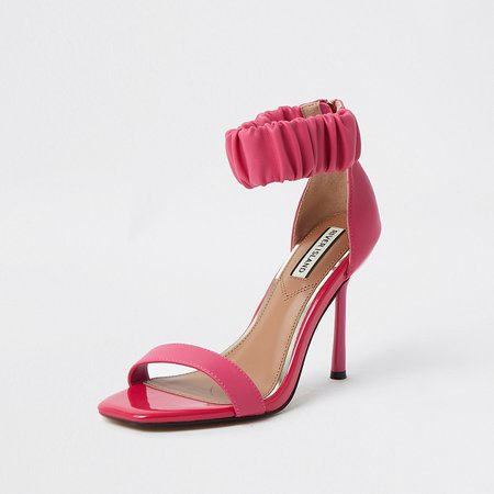 Pink barely there sandal | River Island