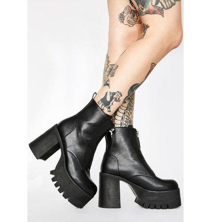Poster Grl Platform Block Heel Zip Boots