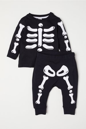 Top and leggings - Black/Skeleton - Kids | H&M GB