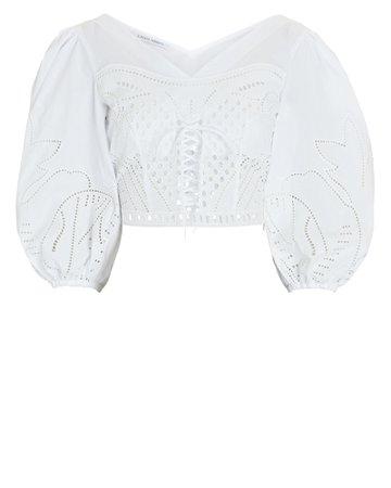 Alberta Ferretti Muslin Puff Sleeve Blouse | INTERMIX®