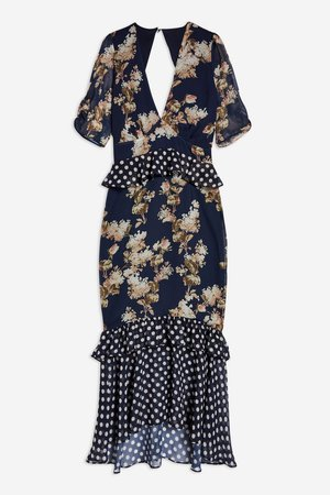 **Floral and Polka Dot Shift Dress by Hope & Ivy - Dresses - Clothing - Topshop
