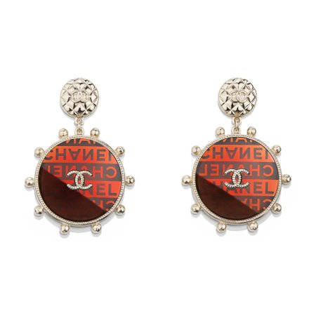 Metal & Resin Gold, red & orange Earrings | CHANEL