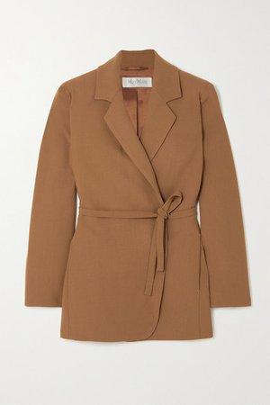 Squaw Belted Wool-blend Crepe Blazer - Camel