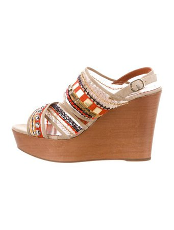Oscar de la Renta Embellished Crossover Wedges - Shoes - OSC73777 | The RealReal