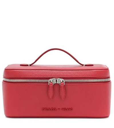 Saffiano leather cosmetics case