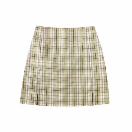 plaid green skirt