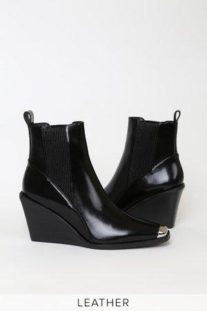 Senso Weston II Ebony - Black Ankle Booties - Leather Wedge Boots
