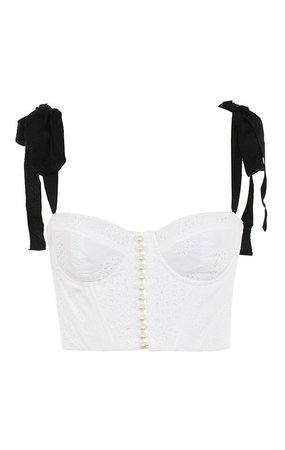 'Roccoco' White Broderie Anglais Bustier