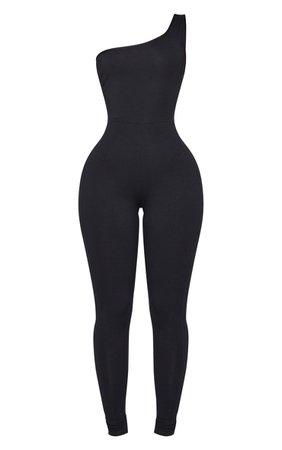 Shape Black Cotton One Shoulder Jumpsuit   PrettyLittleThing USA