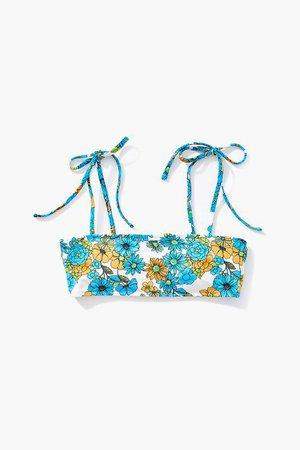 Floral Tie-Strap Bikini Top