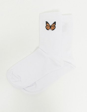 ASOS DESIGN embroidered butterfly calf length sock in white | ASOS
