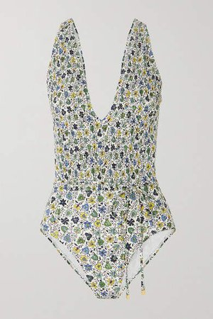Shirred Floral-print Swimsuit - Blue