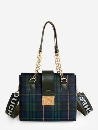 Plaid Shoulder Bag With Letter Print Strap -SheIn(Sheinside)
