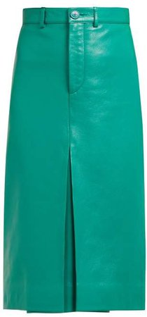High Rise Leather Pencil Skirt - Womens - Green
