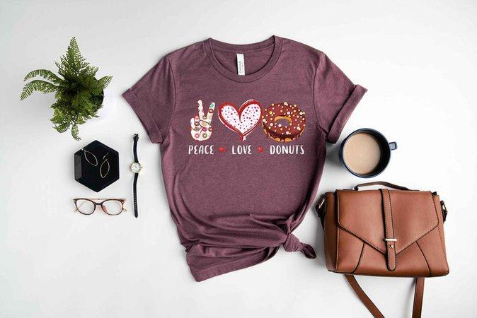 Peace Love Donuts T-Shirt Donut Party Shirt Dessert | Etsy