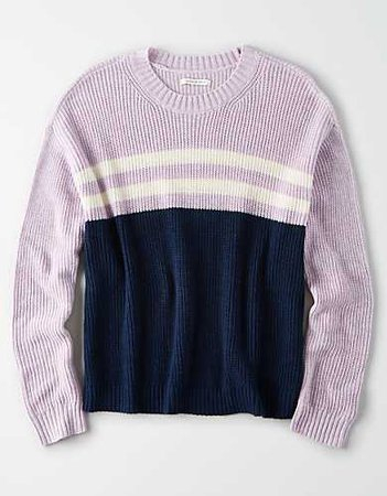 AE Striped Crew Neck Sweater lilac blue