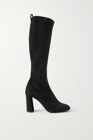 Stretch-suede Knee Boots - Black