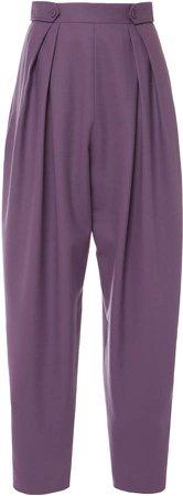 Alberta Ferretti Pleated Wool-Blend Pants