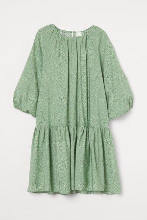 Balloon-sleeved Dress - Green