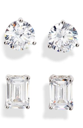 Nordstrom Set of 2 Cubic Zirconia Stud Earrings | Nordstrom